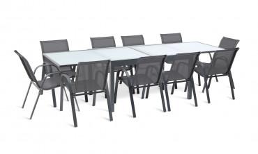 Table extensible verre trempé Saint-Tropez - 135x270cm