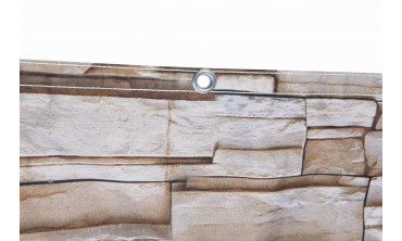 Brise-vue occultant motif effet pierres beiges
