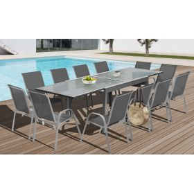 Table extensible verre trempé Saint-Tropez - 135x270cm